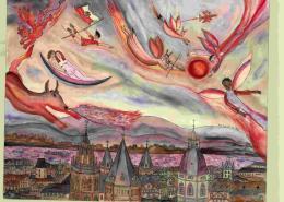 Roten Mond über der Stadt, Aquarell mit Chinatinte, Christine Rosenthal